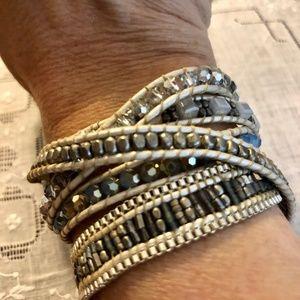 Sparkling Crystal and Leather Wrap Bracelet